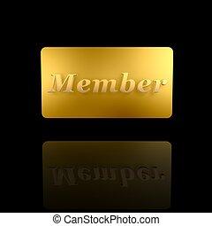 miembro, dorado, tarjeta
