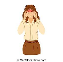 migraña, ella, sufrimiento, ropa, mano, dolor de cabeza, ilustración, dolor, tensión, temples., hand-drawn, mujer, joven, palpitante, oficina, vector, planchado