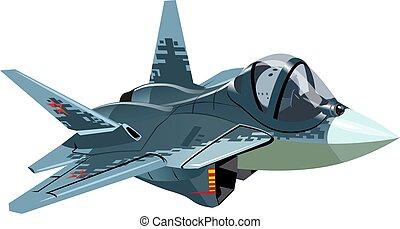 militar, aislado, luchador, caricatura, cautela, avión de reacción
