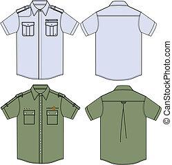 militar, camisas, mens
