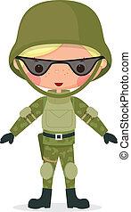 militar, caricatura, niño