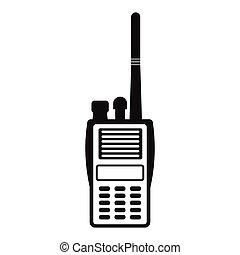militar, icono, simple, radio