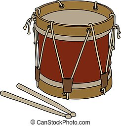 militar, tambor, viejo