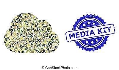 militar, textured, medios, nube, sello, collage, camuflaje, kit