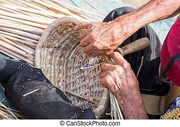 mimbre, manos, elaboración, basket., craftman