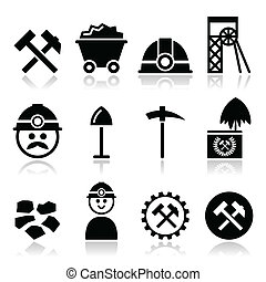 mina de carbón, conjunto, minero, iconos