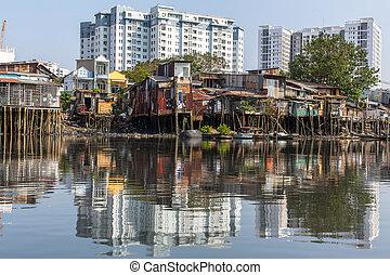 minh, city., chi, barrios bajos, ho, vietnam.