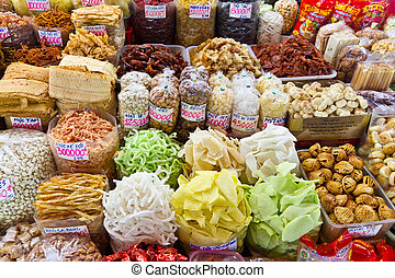 minh, ciudad, alimento, chi, vietnam, ho, (saigon), mercado, asiático