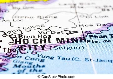 minh, ciudad, saigon, chi, arriba, mapa, vietnam, ho, cierre, o