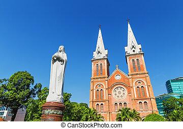 minh, saigon, basílica, ciudad, notre, vietnam, ho, chi, catedral, dama