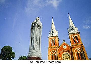 minh, saigon, basílica, dama notre, ciudad, chi, vietnam, ho