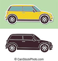 mini, moda, automóvil elegante