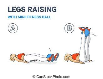 mini, pelota, ejercicio, guía de niña, condición física, hogar, aumentos, color, entrenamiento, pierna, illustration.