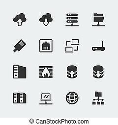mini, vector, conjunto, red, iconos