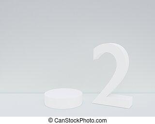 minimalism, arriba, espacio, render, color, podio, estilo, presentación, simulado, plano de fondo, 3d, escena, blanco, resumen, copia, 2, número