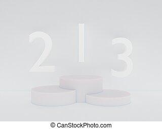 minimalism, copia, simulado, estilo, render, escena abstracta, podio, color, arriba, 3d, presentación, espacio, fondo blanco