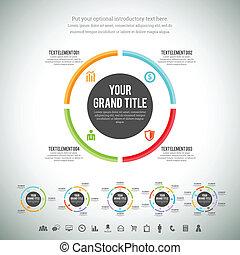 minimalista, círculo, infographic, línea