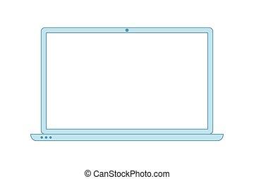 minimalista, icon., estilo, línea, laptop., computador portatil, azul