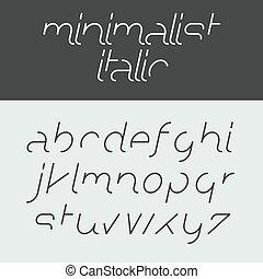 minimalista, itálico, alfabeto