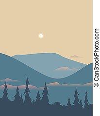 minimalista, vector, bosque, plano, valle, montaña