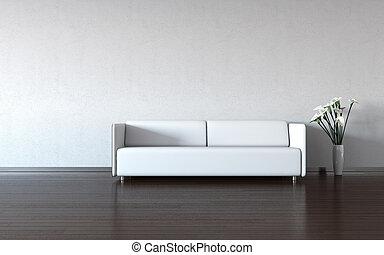 Minimismo: sofá blanco y jarrón junto a la pared