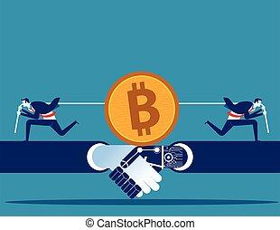 mining., illustration., cryptocurrency., vector, gente, competición, empresa / negocio, bitcoin, concepto