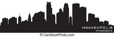 Minneapolis, Minnesota Skyline. Detallado vector silueta