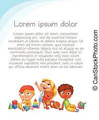 mirada, colorido, arriba, interest., publicidad, plantilla, folleto, niños