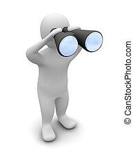 Mirando a través de los prismáticos