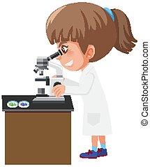 mirar, células, ciencia, microscopio, por, bata, diferente, niña