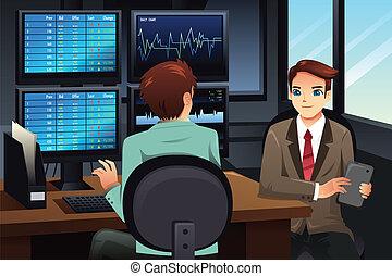 mirar, comerciante, monitores, mercado, acción