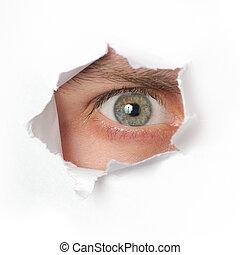 mirar completamente, agujero, papel, ojo