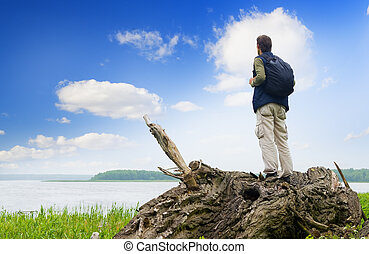 mirar, distancia, turista