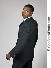 mirar, hombre de negocios, norteamericano, espalda, africano