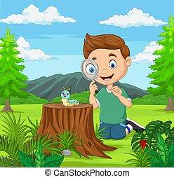 mirar, niño, poco, lupa, jardín, oruga, utilizar