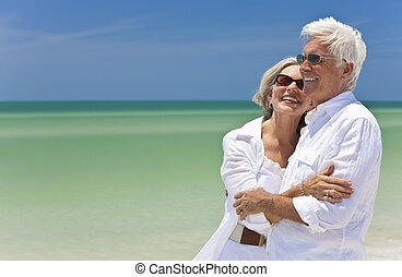 mirar, pareja, tropical, mar, 3º edad, playa, feliz