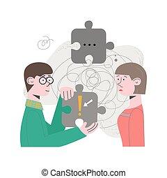 mirar, task., ilustración, el solucionar, gente, problema, vector, equipo, concepto, pareja, solución, brainteaser, rompecabezas