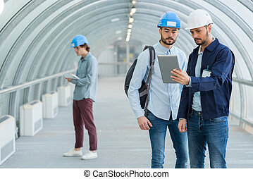 mirar, trabajadores, obrero, tableta