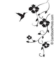 Mirlo y flores