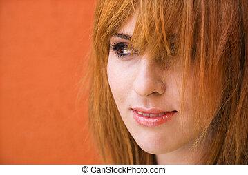 mischievious, mujer, expresión
