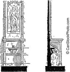 Misericord, grabado antiguo