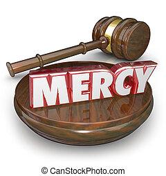 misericordia, palabra, juez, el condenar, veredicto, martillo, tribunal, lenient, 3d