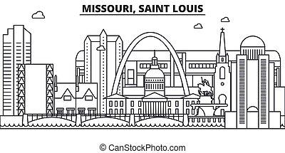 Missouri, la línea de arquitectura de Saint Louis ilumina el horizonte. Vector lineal Cityscape con puntos de referencia famosos, vistas de la ciudad, iconos de diseño. Landscape wtih derrames editables