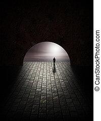 misterio, túnel, hombre