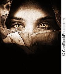 misterioso, ojos, mujer, sensual