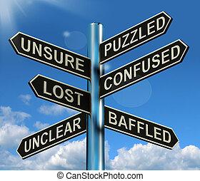 misterioso, perdido, desconcertado, poste indicador, actuación, confuso, problema