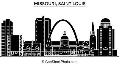 misuri, cityscape, señales, vector, aislado, santo, edificios, plano de fondo, vistas, louis, viaje, perfil de ciudad, estados unidos de américa, arquitectura