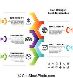 Mitad hexagon block infographic