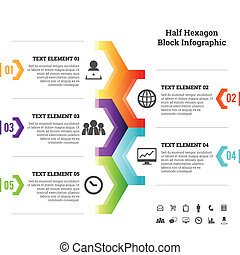 mitad, infographic, bloque, hexágono