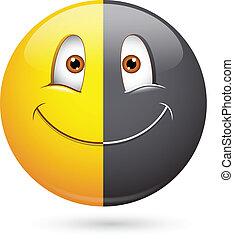 mitad, smiley, negro, racismo, cara
